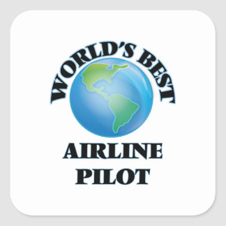 El mejor piloto de la línea aérea del mundo pegatina cuadrada