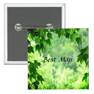 El mejor Pin del hombre del boda frondoso Pin Cuadrada 5 Cm