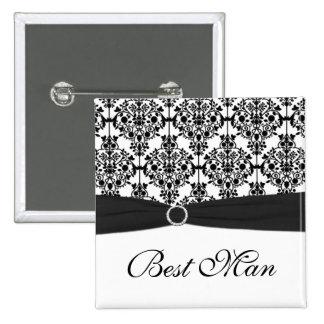 El mejor Pin del hombre del damasco blanco y negro