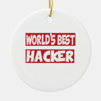 El mejor pirata informático del mundo adorno redondo de cerámica