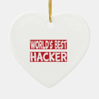 El mejor pirata informático del mundo adorno de cerámica en forma de corazón