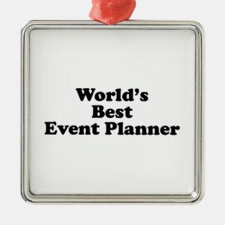 El mejor planificador de eventos del mundo adorno navideño cuadrado de metal
