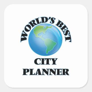 El mejor planificador de la ciudad del mundo pegatina cuadrada