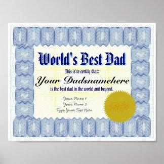El mejor poster del certificado del papá del mundo póster