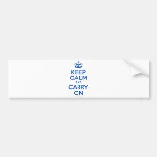 El mejor precio guarda calma y continúa el azul etiqueta de parachoque