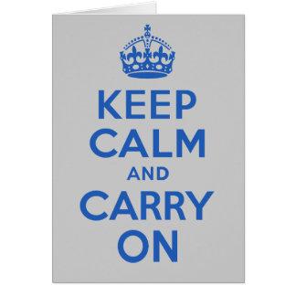 El mejor precio guarda calma y continúa el azul tarjeta de felicitación