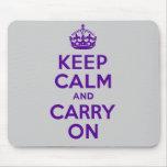 El mejor precio guarda calma y continúa púrpura alfombrillas de ratón