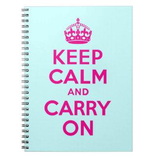El mejor precio guarda calma y continúa rosas spiral notebooks