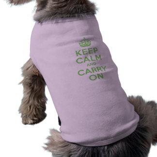 El mejor precio guarda calma y continúa verde playera sin mangas para perro