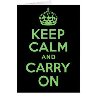 El mejor precio guarda calma y continúa verde tarjeta de felicitación