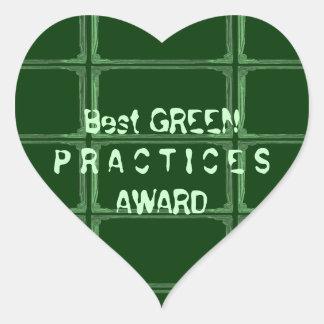 El mejor premio VERDE de las prácticas - cambie la Pegatina En Forma De Corazón