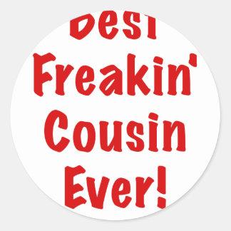 El mejor primo de Freakin nunca Pegatina Redonda