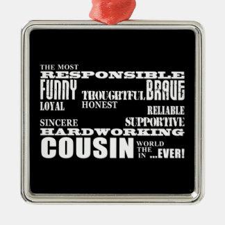 El mejor primo más grande 4 de los primos adorno cuadrado plateado