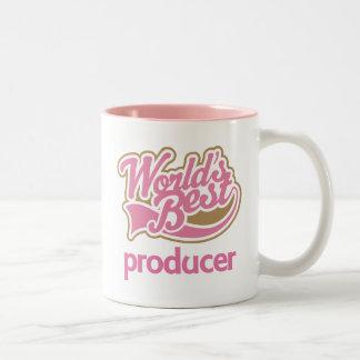 El mejor productor de los mundos rosados lindos taza de dos tonos