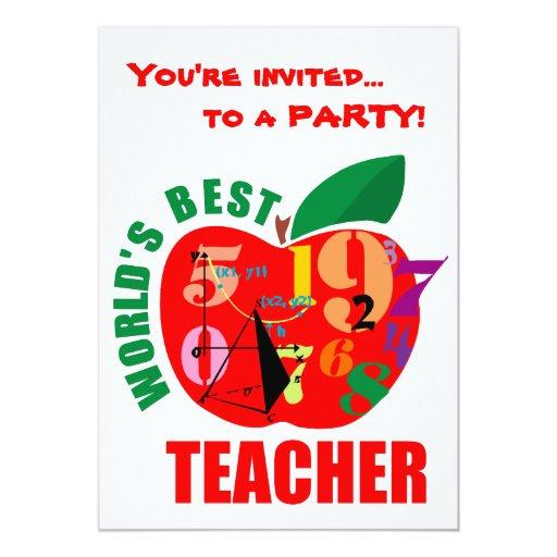 """El mejor profesor Apple del mundo Invitación 5"""" X 7"""""""