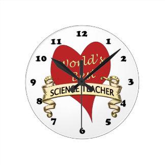 El mejor profesor de ciencias del mundo reloj redondo mediano