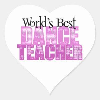 El mejor profesor de la danza del mundo pegatina corazón personalizadas