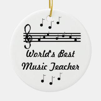El mejor profesor de la música del mundo adorno navideño redondo de cerámica