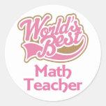 El mejor profesor de matemáticas de los mundos ros etiqueta redonda