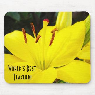 ¡El mejor profesor del mundo flores amarillas del Alfombrillas De Raton