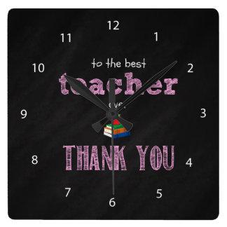 el mejor profesor, gracias reloj cuadrado