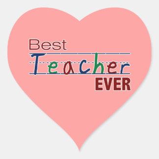 El mejor profesor nunca pegatina en forma de corazón