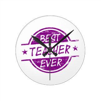 El mejor profesor siempre púrpura reloj de pared