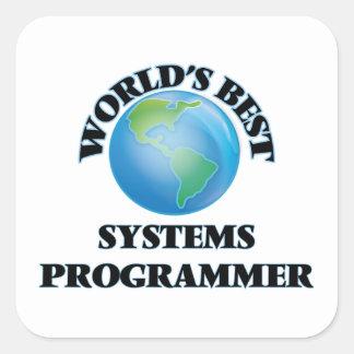 El mejor programador del mundo pegatina cuadrada