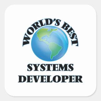 El mejor promotor de los sistemas del mundo pegatina cuadrada
