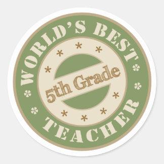 El mejor quinto profesor del grado de los mundos pegatina redonda