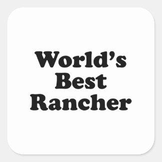 El mejor ranchero del mundo pegatina cuadrada