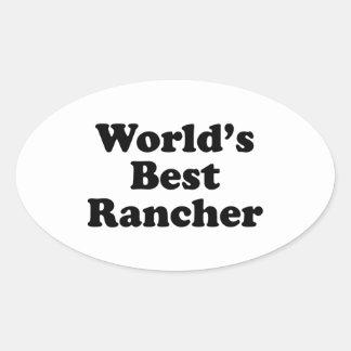 El mejor ranchero del mundo pegatina ovalada
