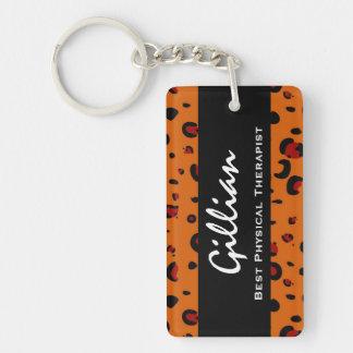 El mejor regalo anaranjado de encargo del leopardo llaveros
