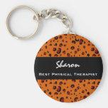 El mejor regalo anaranjado de encargo del leopardo llavero personalizado