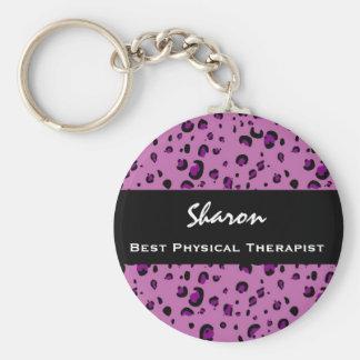 El mejor regalo del estampado leopardo del rosa de llavero personalizado