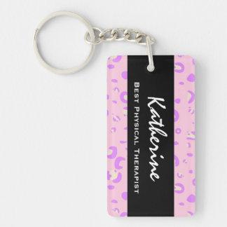 El mejor regalo del estampado leopardo del rosa de llaveros