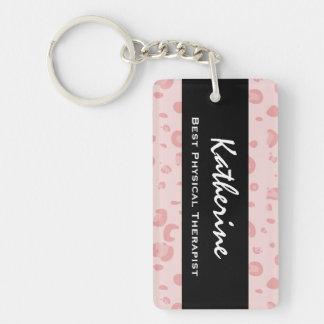 El mejor regalo del estampado leopardo del rosa llavero rectangular acrílico a una cara