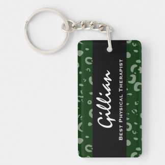 El mejor regalo del estampado leopardo del verde llavero