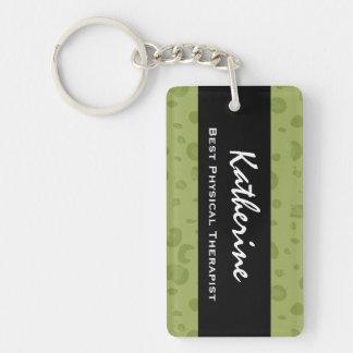 El mejor regalo del estampado leopardo del verde llaveros