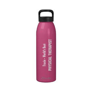 El mejor ROSA conocido de encargo del TERAPEUTA FÍ Botellas De Agua Reutilizables