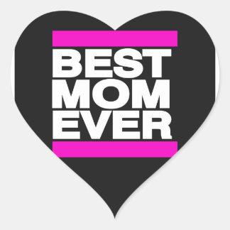 El mejor rosa de la mamá nunca pegatina de corazon