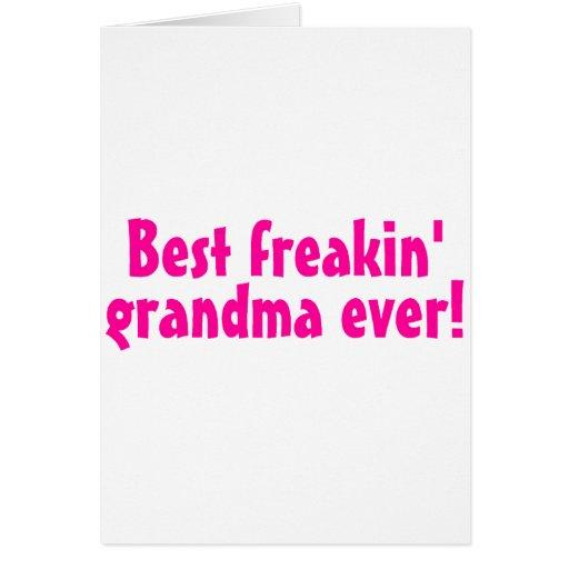 El mejor rosa Freaking de la abuela nunca Felicitaciones
