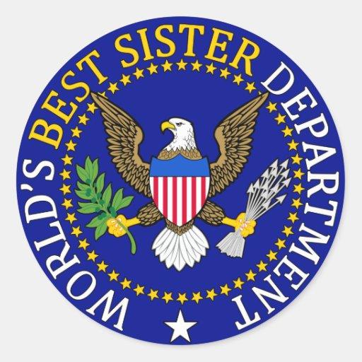 El mejor sello de la hermana del mundo oficial etiquetas redondas