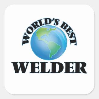 El mejor soldador del mundo pegatina cuadrada