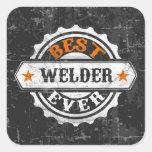 El mejor soldador del vintage pegatinas cuadradas personalizadas