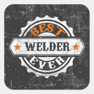 El mejor soldador del vintage pegatina cuadrada