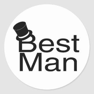 El mejor sombrero de copa del hombre pegatina redonda