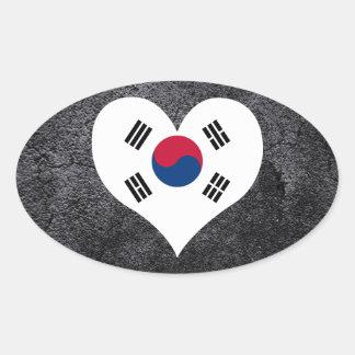 El mejor sur+Bandera coreana del corazón Pegatina Ovalada