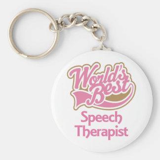 El mejor terapeuta de discurso de los mundos rosad llaveros personalizados