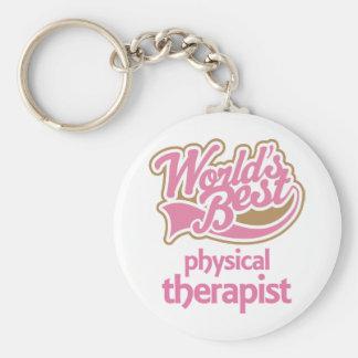 El mejor terapeuta físico de los mundos rosados li llavero redondo tipo pin